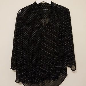Black Blouse with White Polka Dots